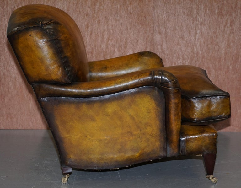 Pair of Fully Restored Howard & Son's Bridgewater Whisky Brown Leather Armchairs For Sale 1