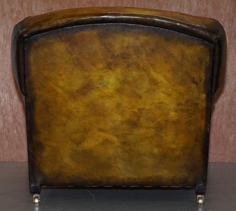 Pair of Fully Restored Howard & Son's Bridgewater Whisky Brown Leather Armchairs For Sale 2