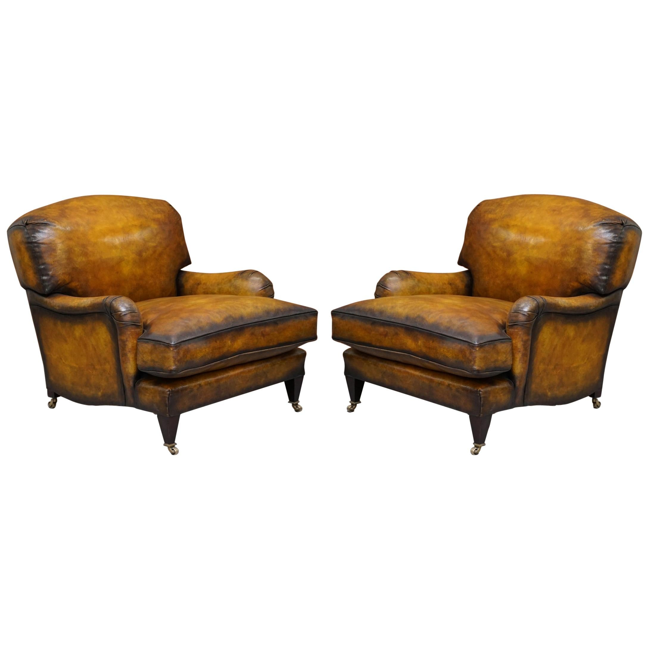 Pair of Fully Restored Howard & Son's Bridgewater Whisky Brown Leather Armchairs