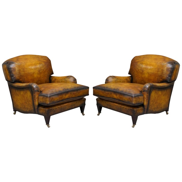 Pair of Fully Restored Howard & Son's Bridgewater Whisky Brown Leather Armchairs For Sale