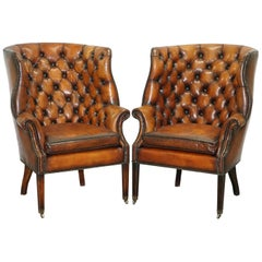 Pair of Fully Restored Ralph Lauren Whisky Brown Leather Porters Armchairs