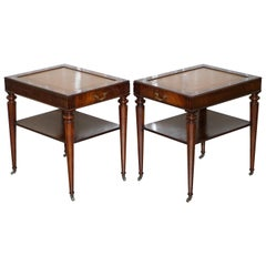 Pair of Fully Restored Vintage Flamed Mahogany Brown Leather Side Lamp Tables