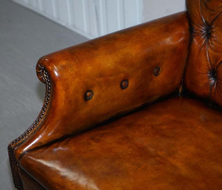 Pair of Fully Restored Vintage Hand Dyed Leather Chesterfield Club Armchairs 4
