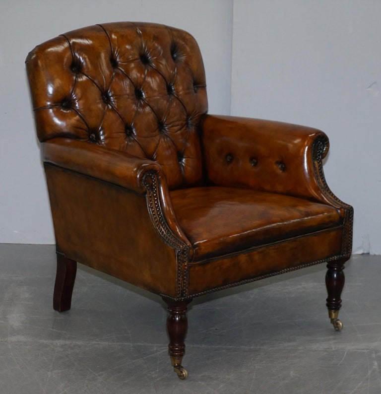 Pair of Fully Restored Vintage Hand Dyed Leather Chesterfield Club Armchairs 7