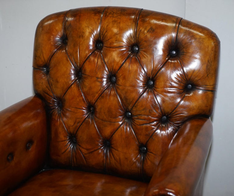 Pair of Fully Restored Vintage Hand Dyed Leather Chesterfield Club Armchairs 9