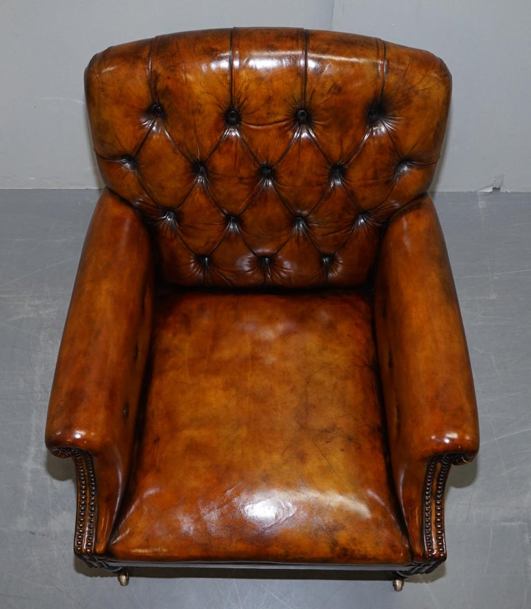 Pair of Fully Restored Vintage Hand Dyed Leather Chesterfield Club Armchairs 10
