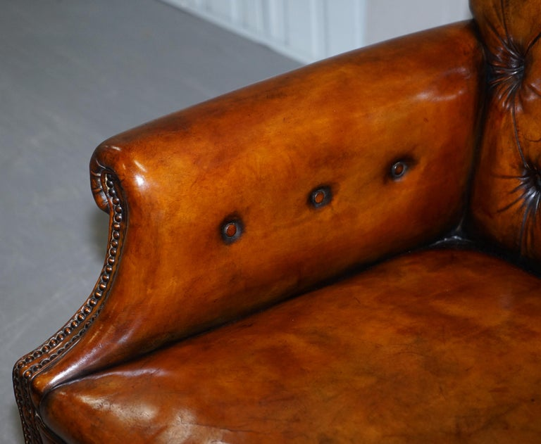 Pair of Fully Restored Vintage Hand Dyed Leather Chesterfield Club Armchairs 12