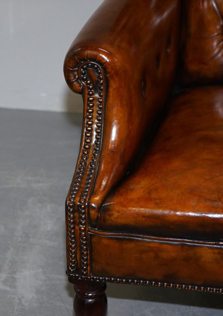 Pair of Fully Restored Vintage Hand Dyed Leather Chesterfield Club Armchairs 13