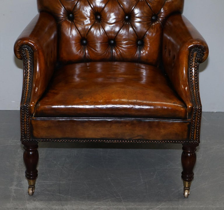 Hand-Crafted Pair of Fully Restored Vintage Hand Dyed Leather Chesterfield Club Armchairs