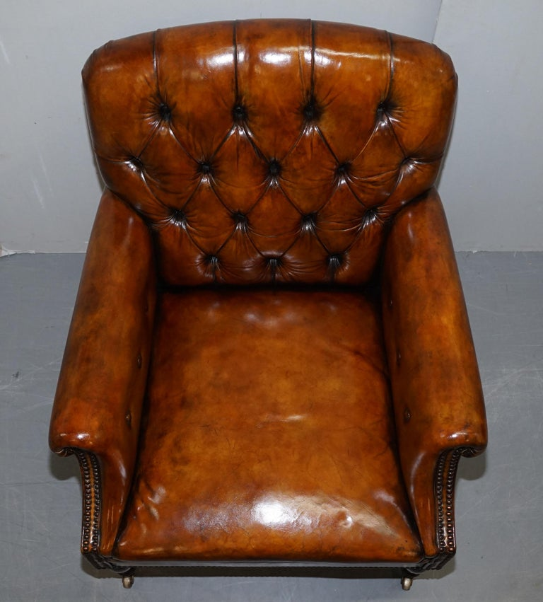 Pair of Fully Restored Vintage Hand Dyed Leather Chesterfield Club Armchairs 1