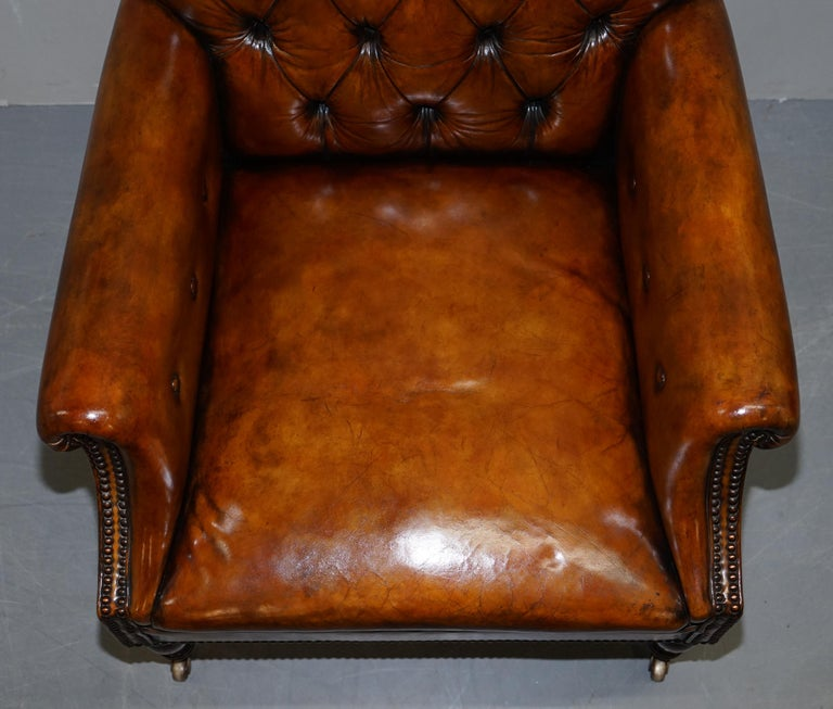 Pair of Fully Restored Vintage Hand Dyed Leather Chesterfield Club Armchairs 2