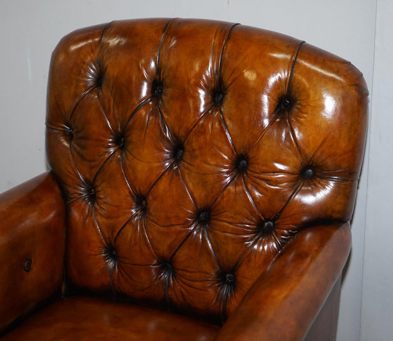 Pair of Fully Restored Vintage Hand Dyed Leather Chesterfield Club Armchairs 3