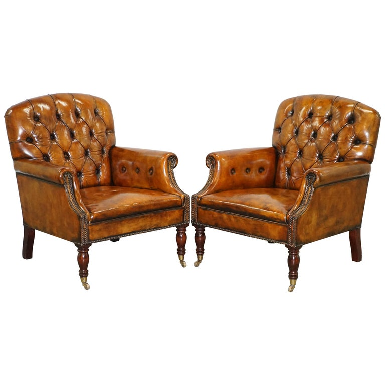 Pair of Fully Restored Vintage Hand Dyed Leather Chesterfield Club Armchairs