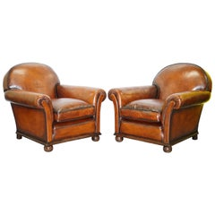 Pair of Fully Restored Whisky Brown Hand Dyed Leather Victorian Club Armchairs