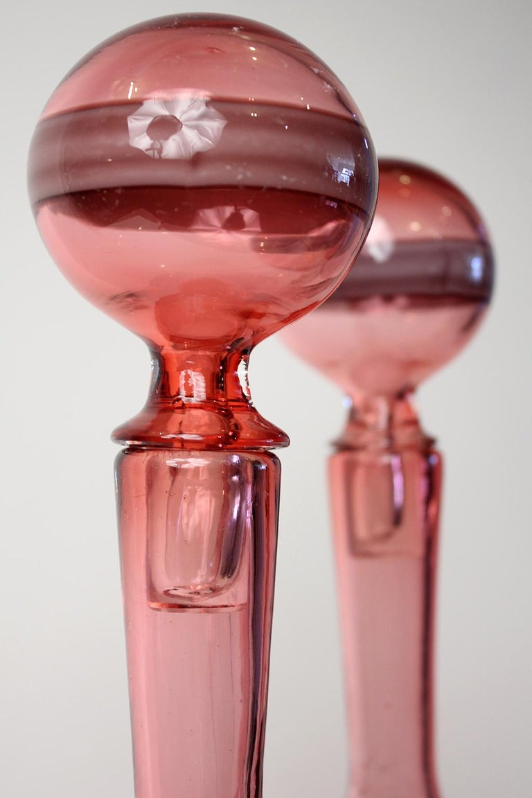 Fulvio Bianconi Fasce Orizzontali Murano Bottles with Stoppers for Venini, Pair For Sale 4