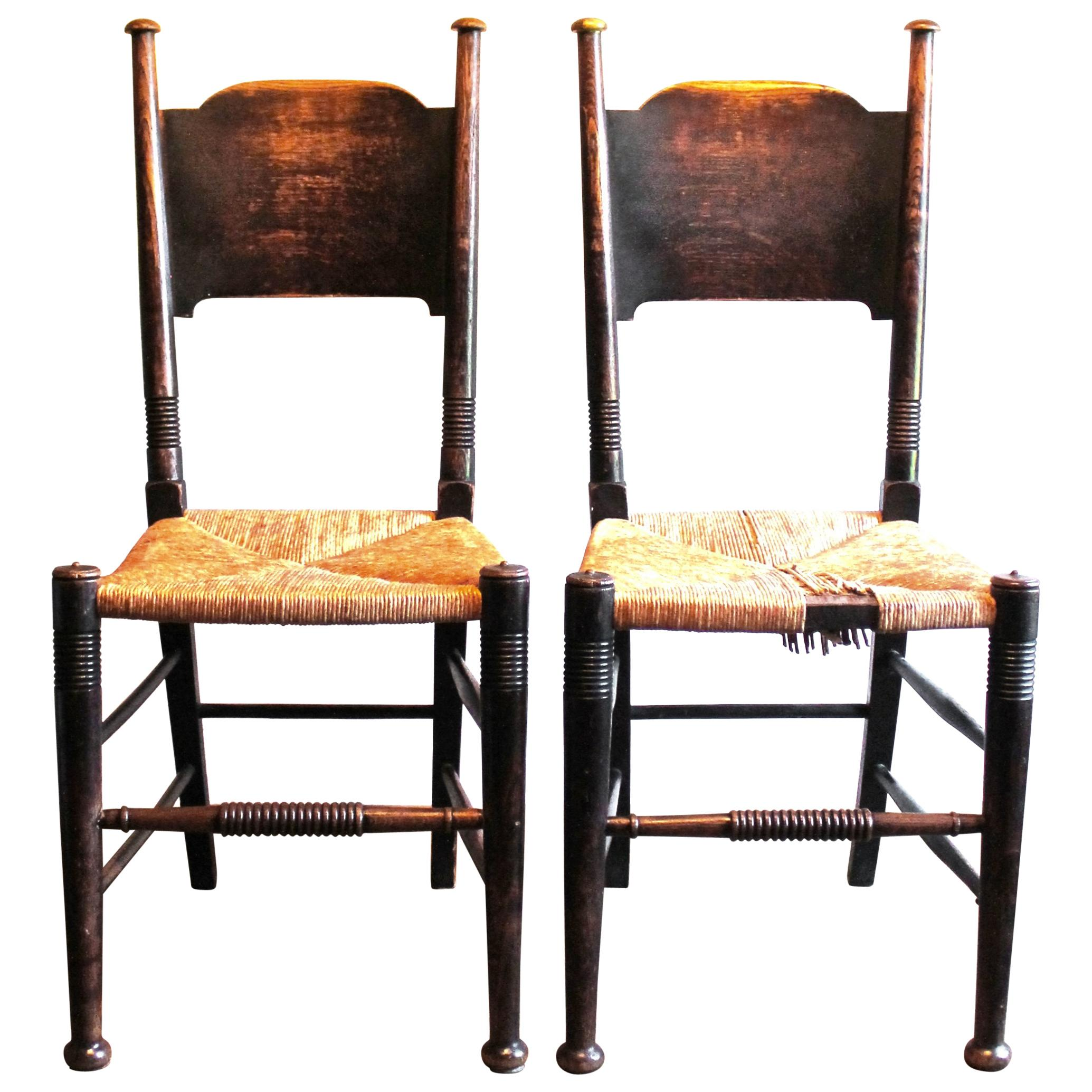 Pair Of Fumed Oak William Birch Liberty Arts And Crafts Chairs For