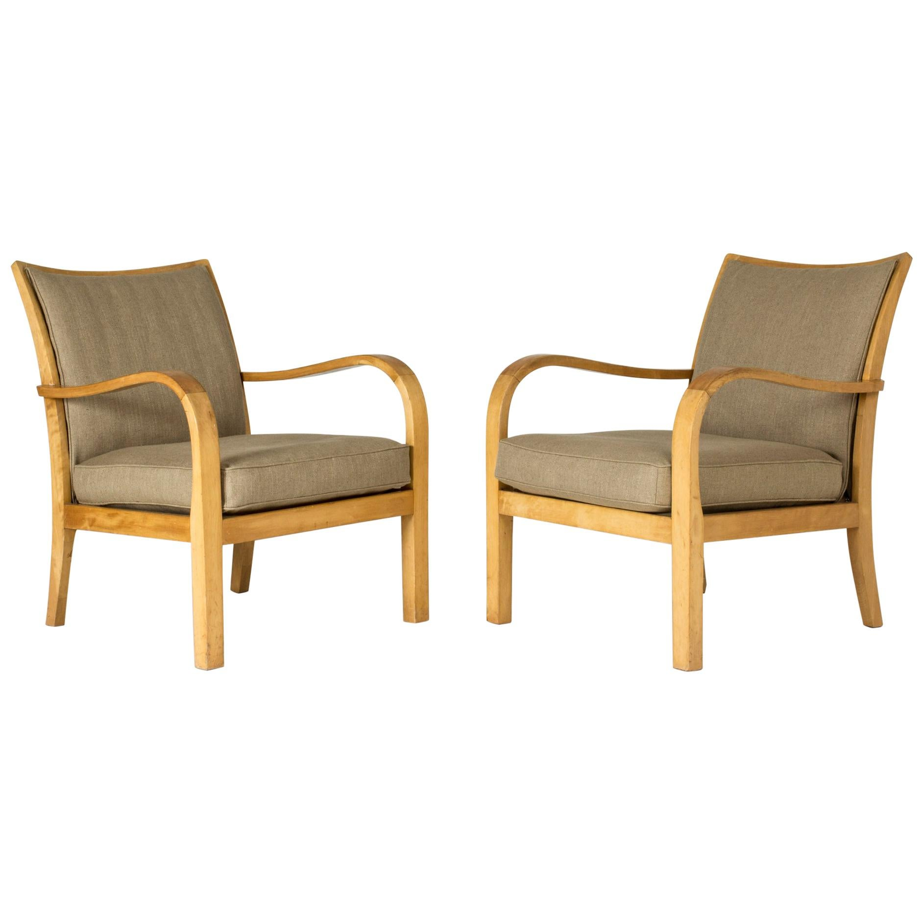 Pair of Functionalist Birch and Linen Lounge Chairs by Axel Larsson for Bodafors
