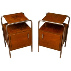 Pair of Functionalist Chromed Nightstands by Kovona, 1950s, Czechoslovakia