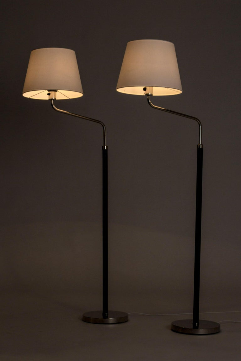 Scandinavian Modern Pair of Functionalist Floor Lamps by Bertil Brisborg For Sale