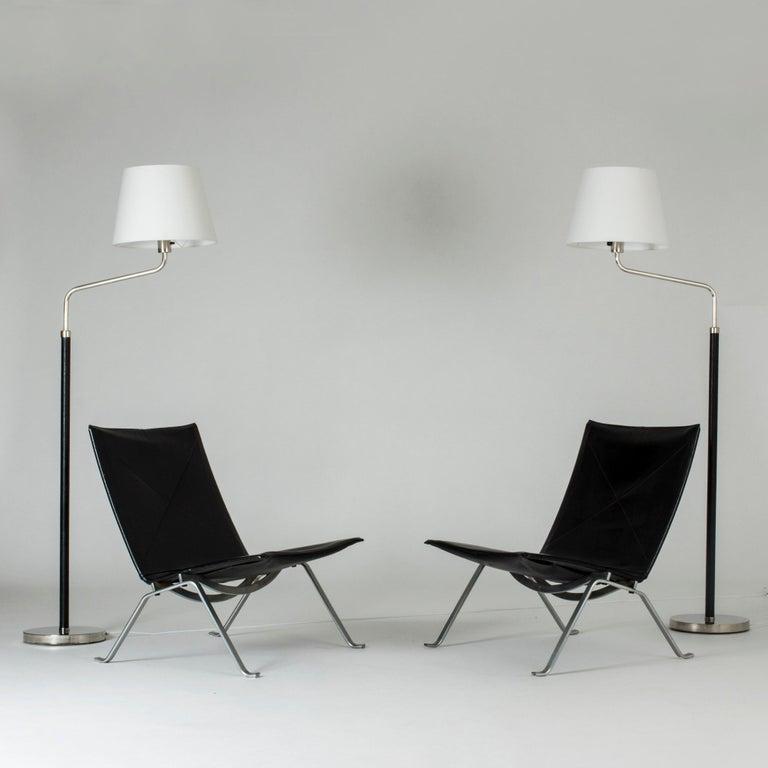 Steel Pair of Functionalist Floor Lamps by Bertil Brisborg For Sale