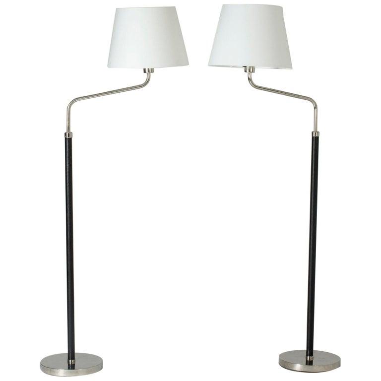 Pair of Functionalist Floor Lamps by Bertil Brisborg For Sale