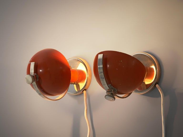 Erik Tidstrand for Nordiska Kompaniet, pair of wall or table lamps, metal, Sweden, 1930s  A refined pair of functionalist wall or table lamps designed by Erik Tidstrand. These lights are produced in Sweden by Nordiska Kompaniet during the 1930s.