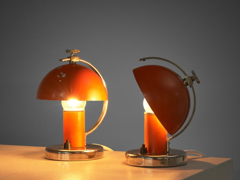 Metal Pair of Functionalist Table/Wall Lights by Erik Tidstrand, 1930s For Sale