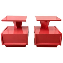 Pair of Futuristic 1950s Lacquered Nightstands by Mengel