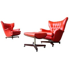Pair of G-Plan Lounge Chairs with Ottoman