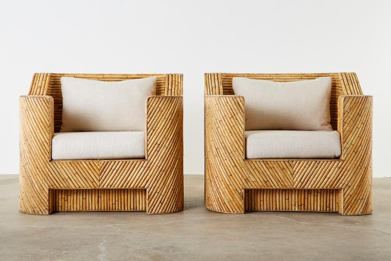 Pair of Organic Modern Bamboo Rattan Lounge Chairs and Ottoman For Sale 3