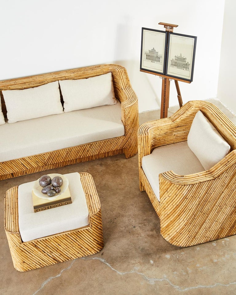 Pair of Organic Modern Bamboo Rattan Lounge Chairs and Ottoman For Sale 4