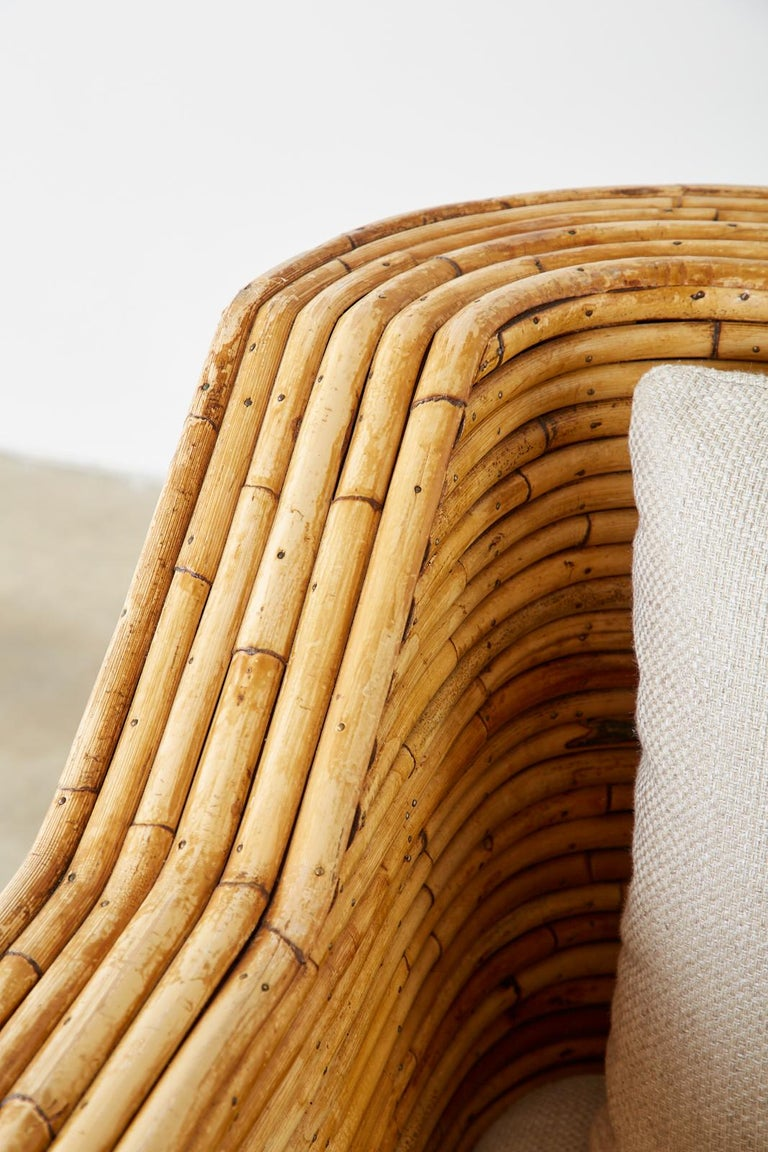 Pair of Organic Modern Bamboo Rattan Lounge Chairs and Ottoman For Sale 6