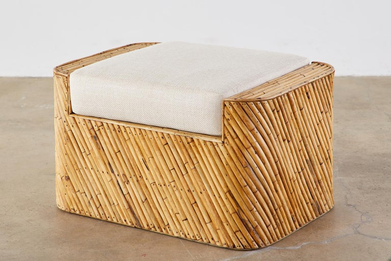 Pair of Organic Modern Bamboo Rattan Lounge Chairs and Ottoman For Sale 11