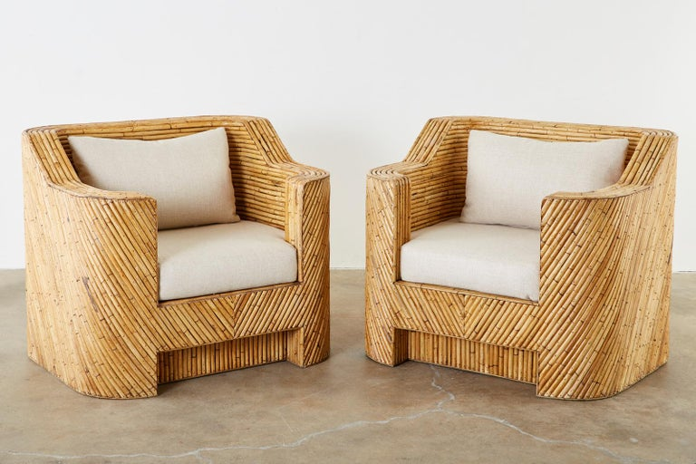 Hand-Crafted Pair of Organic Modern Bamboo Rattan Lounge Chairs and Ottoman For Sale