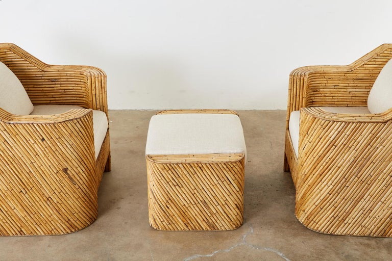 Pair of Organic Modern Bamboo Rattan Lounge Chairs and Ottoman In Distressed Condition For Sale In Oakland, CA