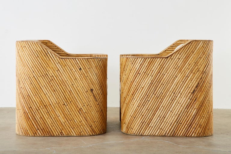 20th Century Pair of Organic Modern Bamboo Rattan Lounge Chairs and Ottoman For Sale