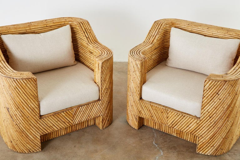 Fabric Pair of Organic Modern Bamboo Rattan Lounge Chairs and Ottoman For Sale