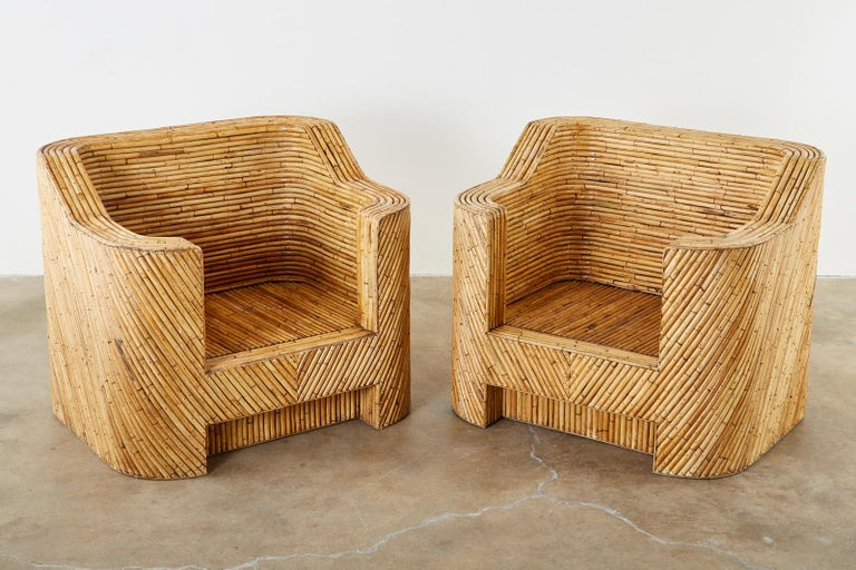 Pair of Organic Modern Bamboo Rattan Lounge Chairs and Ottoman For Sale 1