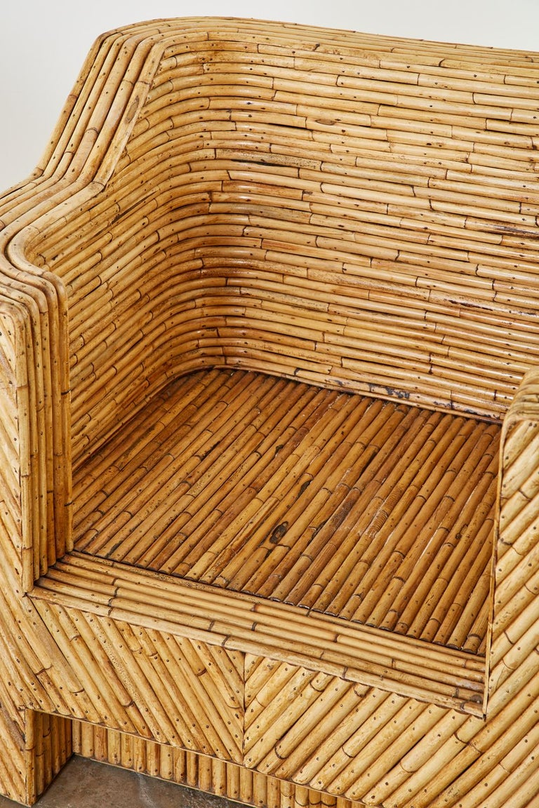 Pair of Organic Modern Bamboo Rattan Lounge Chairs and Ottoman For Sale 2