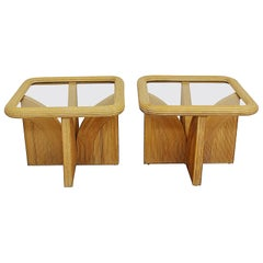 Pair of Gabriella Crespi Style Split Reed Rattan Bamboo End/Side Tables