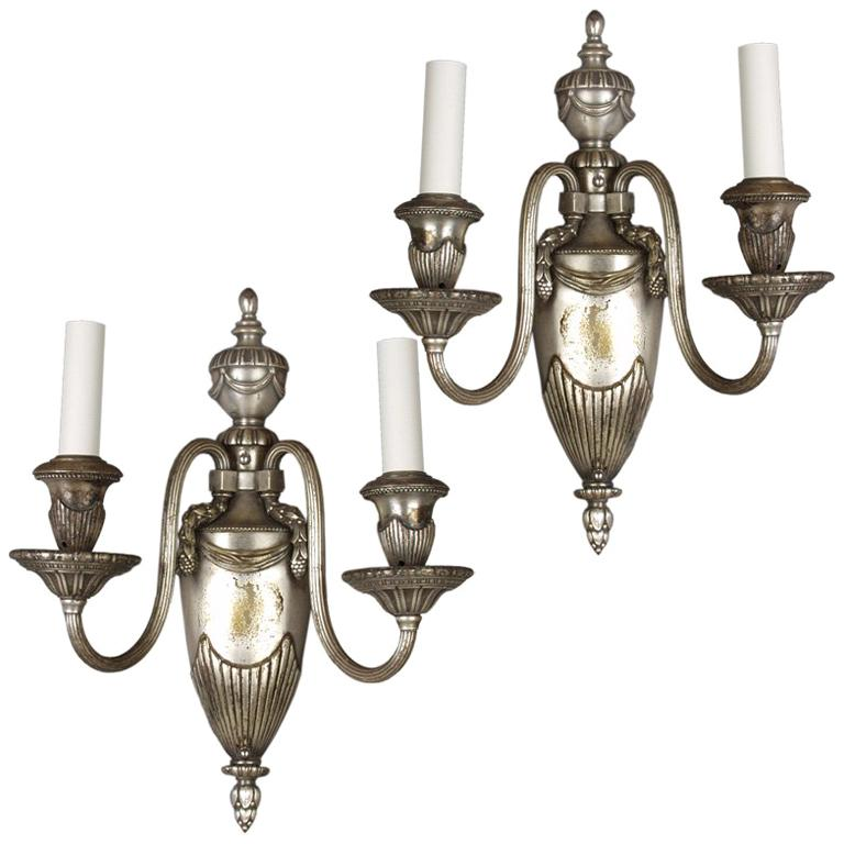 Pair of Gadrooned Silver Sconces by Bradley & Hubbard