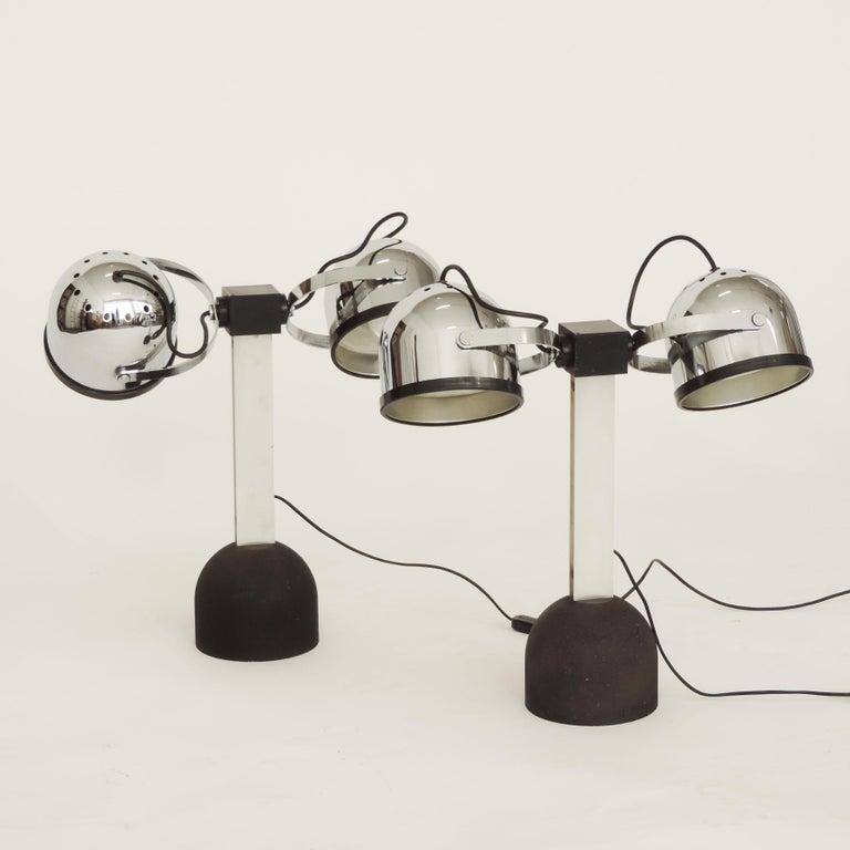 Rare pair of Gae Aulenti & Livio Castiglioni 'Sistema Trepiù' table lamps for Stilnovo, Italy, 1972. Signed Stilnovo.