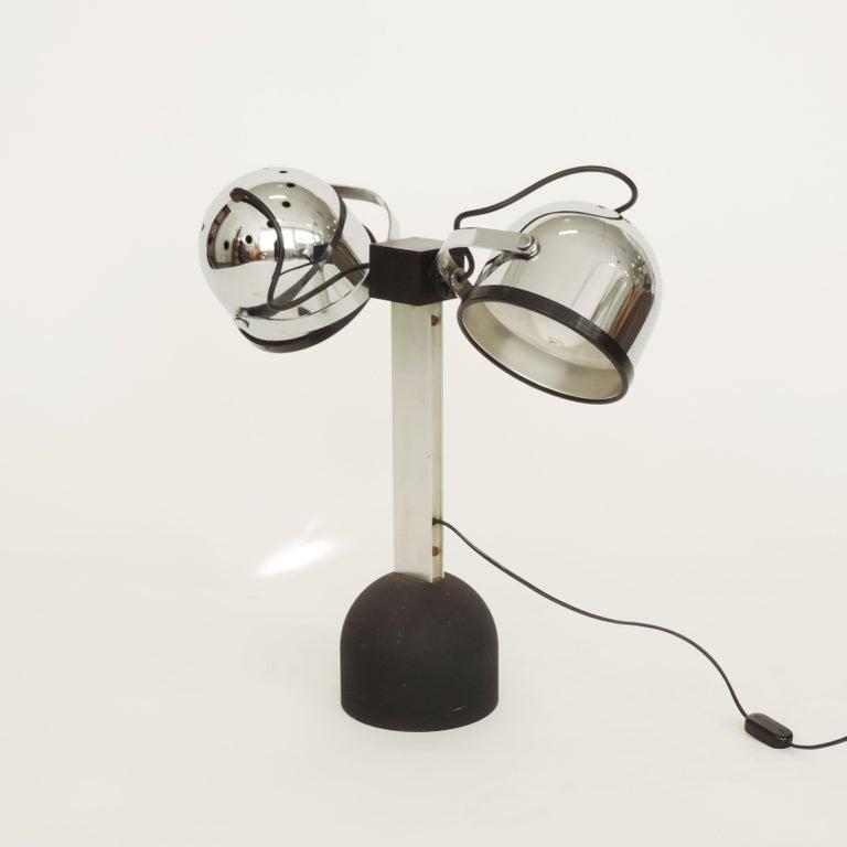 Aluminum Pair of Gae Aulenti & Livio Castiglioni Trepiù Table Lamps for Stilnovo, 1972 For Sale