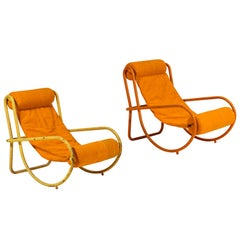 Pair of Gae Aulenti Locus Solus Lounge Chairs in Orange Tent Canvas