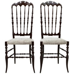 Pair of Gaetano Descalzi Midcentury Italian Chiavari High Back Chairs, 1950s