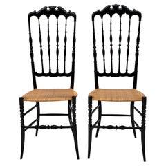 Pair of Gaetano Descalzi Midcentury Italian Chiavari High Back Chairs, 1950s
