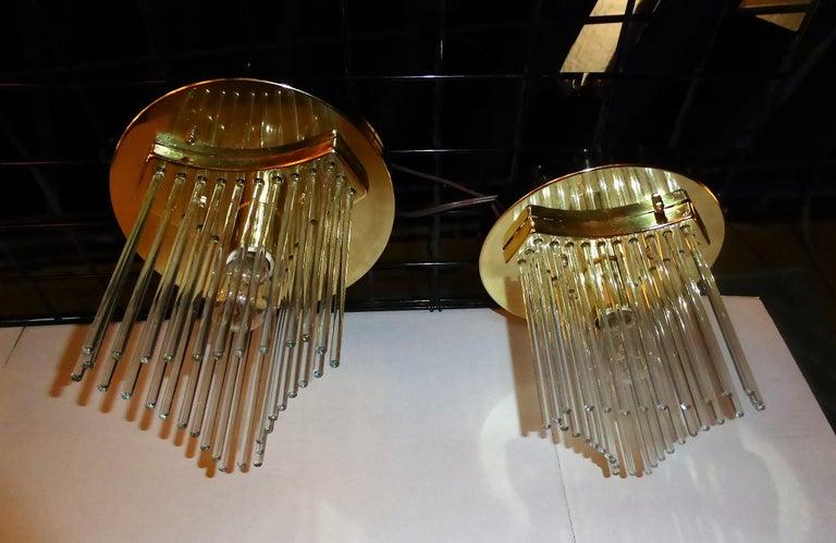 Mid-Century Modern Pair of Gaetano Sciolari Glass Rod Waterfall Flush Mounts for Lightolier For Sale