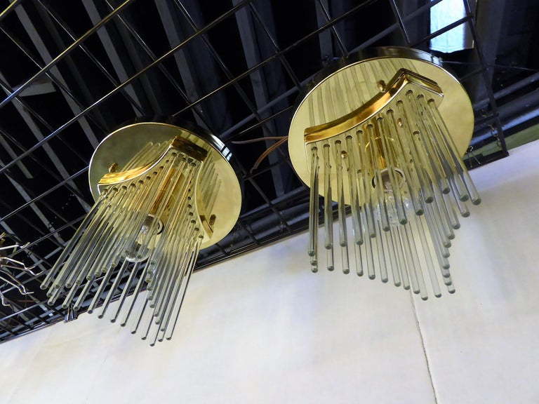 Italian Pair of Gaetano Sciolari Glass Rod Waterfall Flush Mounts for Lightolier For Sale