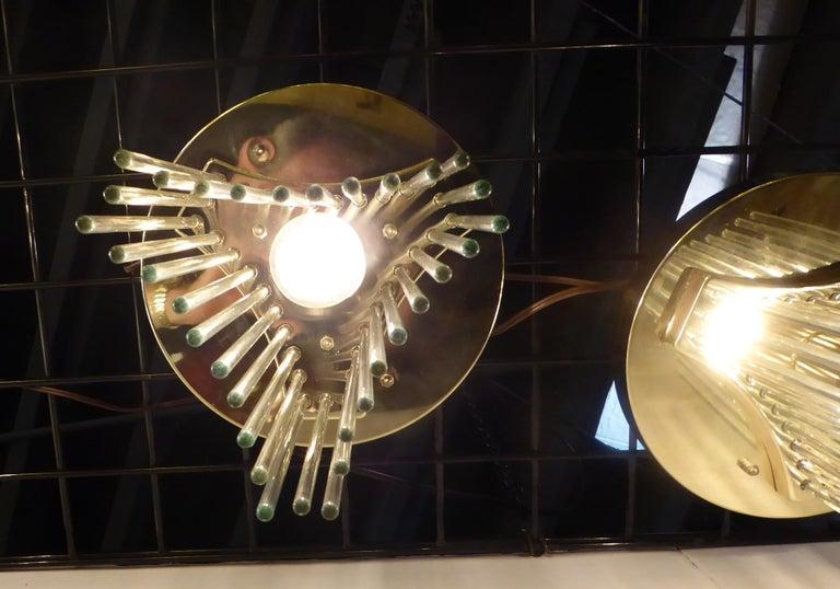 Late 20th Century Pair of Gaetano Sciolari Glass Rod Waterfall Flush Mounts for Lightolier For Sale