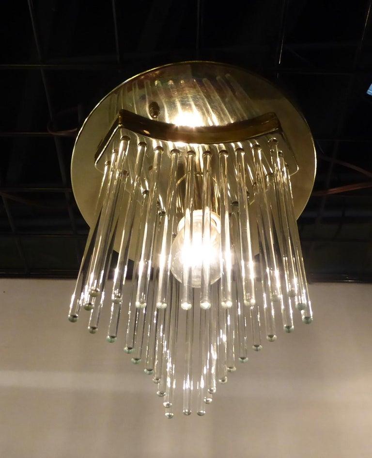 Brass Pair of Gaetano Sciolari Glass Rod Waterfall Flush Mounts for Lightolier For Sale
